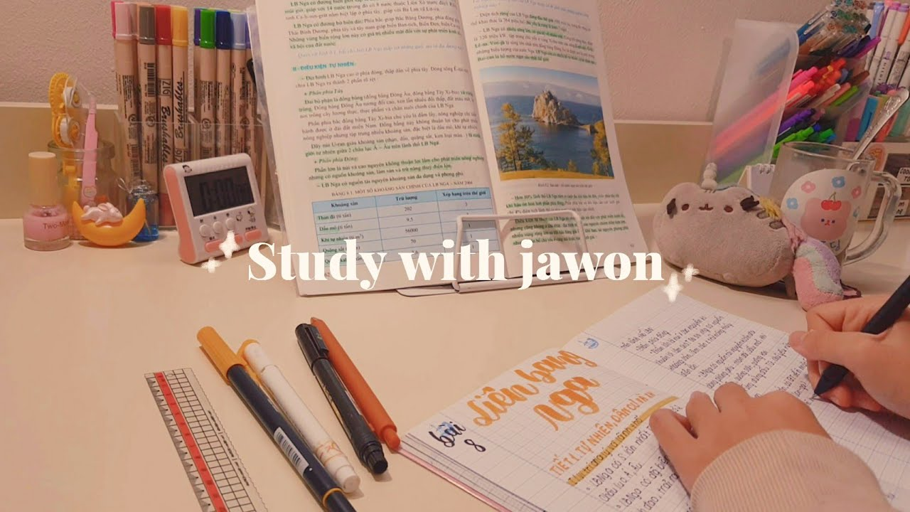 HỌC BÀI CÙNG MÌNH // study with me #8 (real time, with piano music) // jawonee